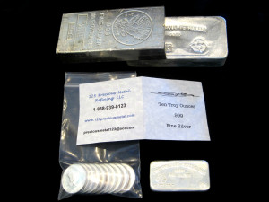 Silver Bullion, 100toz and 10toz silver bars, 1toz silver rounds